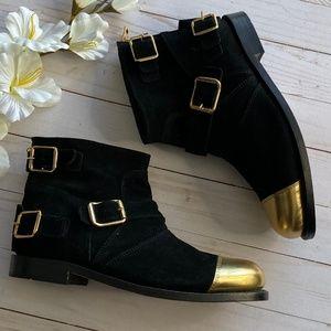 BALMAIN x HM Suede Leather Gold Toe Biker Boots